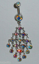 GORGEOUS AND SPARKLY!  AB CRYSTAL CHAIN MAILLE DANGLE NAVEL BELLY RING