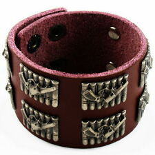 Leather Bracelet Mens Bullet Style brown buckle waistband UNIQUE COOL fashion