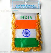INDIA INDIAN MINI POLYESTER INTERNATIONAL FLAG BANNER 3 X 5 INCHES