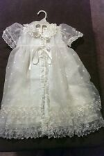 2 piece Embroidered Organza & Lace White Christening Baptism slip gown dress L