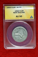 1935 New Zealand One Florin Au-50
