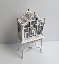 Bespaq Hand Painted 2 Piece Wooden Bird Cage w/ Table Stand Dollhouse Miniature