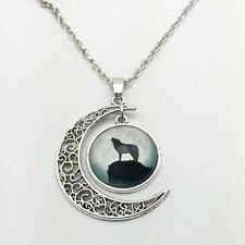 Vintage wolf Cabochon Silver plated chain necklace pendants Moon pendant