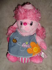 "Poodle Pink  Puppy Dog Girl Purse Backpack 15"" Stuffed Plush Denim Woody Trading"