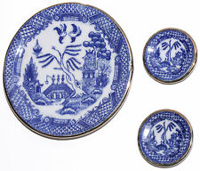 Vintage Porcelain Miniature Platter & 2 Plates Oriental Blue Design On White