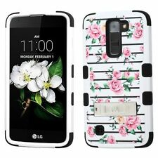 For LG K7 Pink White Fresh Roses Tuff Hard Silicone Hybrid Case Cover w/stand