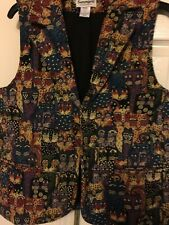 Serengeti Cat Tapestry Vest three button Size M Women's Novelty Fashion