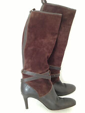 J Crew Women Size 6 Brown Leather Boots High Heel Buckle Italy