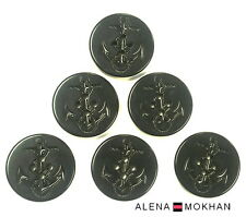 "8pcs Extra Large Navy Pea Coat Anchor Black Plastic Buttons  1 1/4"" 32mm L50"