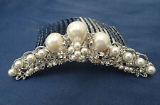Beautiful Bridal Hair Comb Slide with Large Faux Pearl & Crystal Silver Tone