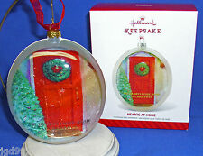 Hallmark Ornament Hearts at Home 2014 Red Door with Wreath Domed Front Glass NIB