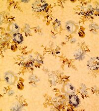 KAUFMAN/GOLDING Venice screen print floral pale yellow blue 3+ yards new