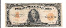 1922 $10 TEN DOLLAR GOLD CERTIFICATE-FINE-VINTAGE CURRENCY-SCARCE