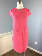Talbots S 4 P Coral Pink Ponte Knit Shift Dress Career Cocktail cap sleeve EUC