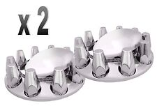 Set of 2 Chrome Semi Truck Front Axle Wheel Cover with Hub Cap 33mm Lug Nuts