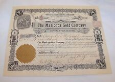 Antique 1902 Maricopa Gold Company 100 Shares Stock Certificate Mining
