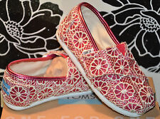 TOM'S - Tiny Toms 'Classic - Crochet' Glitter Slip-On - Pink/Coral - Size 9 todd