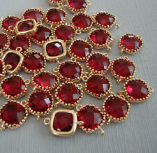 2pcs- Ruby Square Framed 24K Gold Plated Brass Glass Bezel Connector .