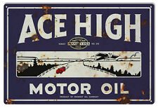 Large Reproduction Ace High Motor Oil Sign 16X24
