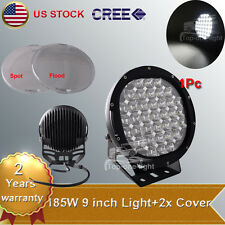9'' inch 185W Cree Round LED Driving Work Light 4WD Offroad + Spot Flood Lens
