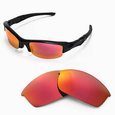 New Walleva Fire Red Replacement Lenses For Oakley Flak Jacket Sunglasses