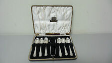 "ENGLISH ""E. VINERS"" STERLING SILVER DEMITASSE SPOONS & SUGAR TONG SET, c. 1931"