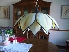 Vintage Shades of Yellow Slag Glass Double Tulip Swag Hanging Lamp Ceiling Mount