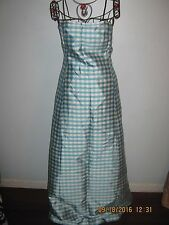 LAUREN Ralph Lauren Womens  STRAPLESS FORMAL LENGTH BLUE Plaid DRESS SZ 8