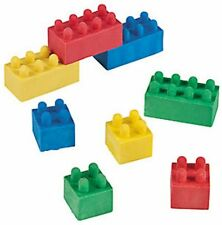 Pack of 12 - Colour Brick Block Rubbers Erasers - Lego Office Teacher Supplies