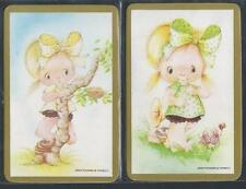 #915.211 Blank Back Swap Cards -MINT pair- Girls with big bows, gold borders