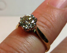 GENUINE MOISSANITE DIAMOND SOLITAIRE 9 CARAT SOLID YELLOW GOLD RING 6.5mm vvs2 M