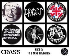 CRASS 6 X 31 mm Button Badges Set 2