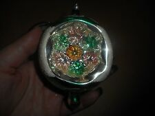 Vintage Bulb Christmas Ornament Indented With Multi Colored Flowers