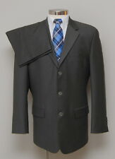 Mens 42R Calvin Klein 2 Piece Grey/Green 100% Wool Suit