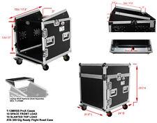 ProX T-12MRSS DJ Rack 12U Bottom x 10U Mixer Slanted Top Flight Case w/ Wheels