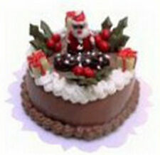 1;12 Scale Round Christmas Cake + Chocolate Icing Dolls House Miniature NC24