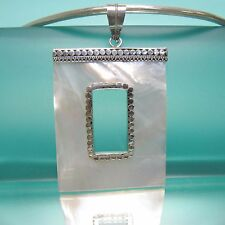 """2"""" White Mother of Pearl Shell Pure 925 Sterling Silver Handmade Pendant"""