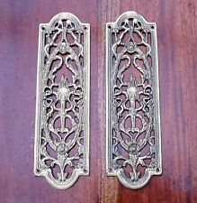 Ornate Pair Of Reclaimed Brass Finger Plates - Art Deco Lamp And Ribbon Design