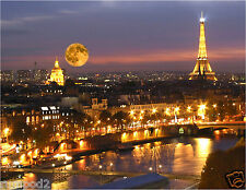 Paris Poster/'Eiffel Tower at Night/Moon at Night' France/French Poster 17x22 in