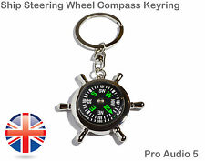 Ship Boat Rudder Compass Chrome Keyring - High Quality - Key Chain UK Fast Post