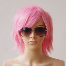 Male Female Synthetic Hair Short Straight Full Wigs Cosplay Party Anime Dress la