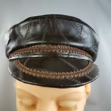 Genuine Leather Newsboy Cabbie Paper Boy Hat Cap JHATS Size Small Crazy Patch