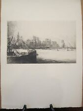 "Louis Orr Original Signed ""Ports of America"" Etching - New York"