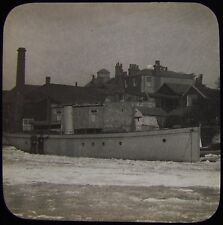 Glass Magic Lantern Slide UNIDENTIFIED BEACHED STEAMSHIP C1900 PHOTO SHIP