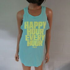 Victoria's Secret PINK Cotton Low Armhole Graphic Tank Top Shirt Aqua S NWT