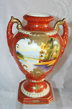 ANTG DOUBLE HANDLED VASE(s) HAND PAINTED LANDSCAPE GOLD NIPPON PAULOWNA BLOSSOM