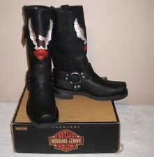 Mens Harley Davidson Darren Pull-on Black Leather Harness Motorcycle Boots 11