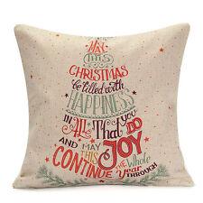 Christmas Xmas Linen Cushion Cover Throw Pillow Case Home Decor Festive Gift #9