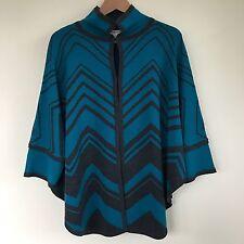NWOT Pendleton Women's XS/S Gray Turquoise Wool Cape Poncho Coat Sweater Cloak