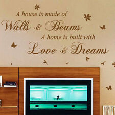 A House Is Made Of Bricks and Beams Wall Art Quote Stickers Wall Decals p2